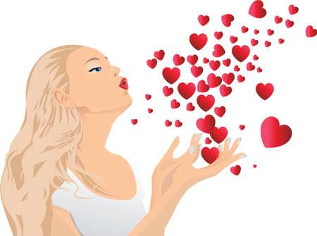 handkuss: Girl blowing Küsse. Illustration.The Datei kann auf jede beliebige Größe skaliert werden.  Illustration