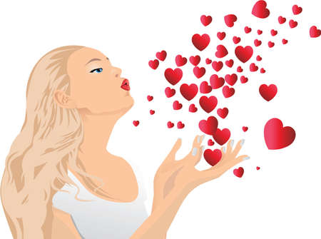 blow kiss: Girl blowing kisses.  illustration.The file can be scaled to any size.