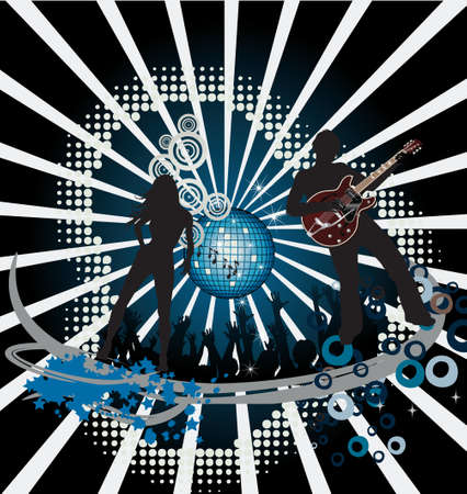 Abstract party poster with disco ball Stock Vector - 7454207