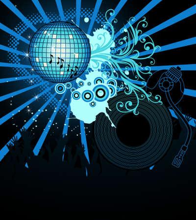 party dj: Partie r�sum� affiche avec DJ tourne-disque