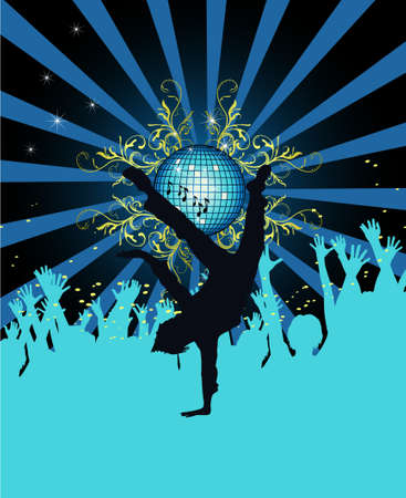 Abstract party poster with disco ball  Illustration