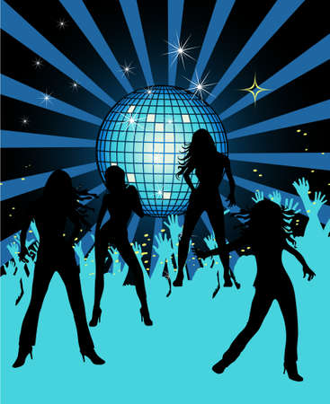 disco ball: Abstract party poster with disco ball  Illustration