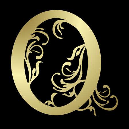 alfabet: Alphabetic letter o, in gold