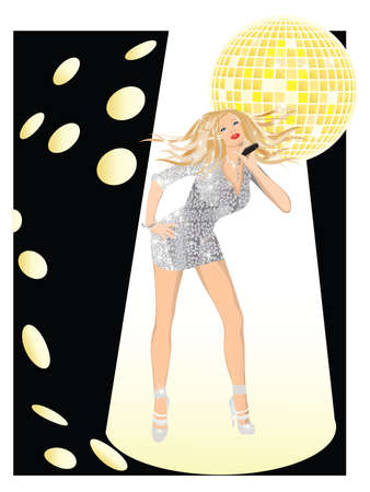 Singing Girl with a microphone,  illustration