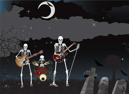Music poster;Skeleton Band Stock Vector - 7454369