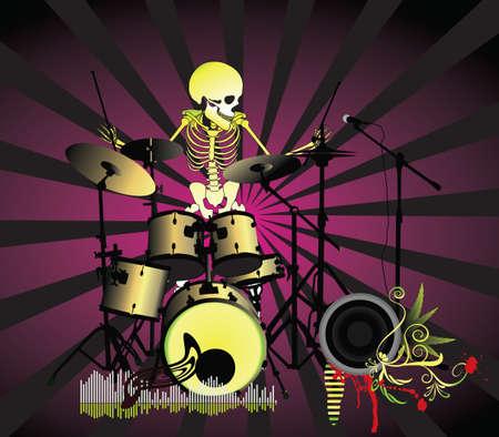 Music poster;Skeleton Stock Vector - 7454249