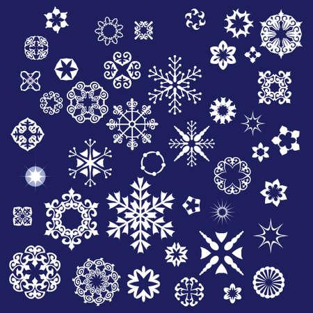 set van sneeuwvlokken achtergrond  Stock Illustratie