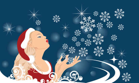 The girl blows off snowflakes from the hand Stock Vector - 7462558