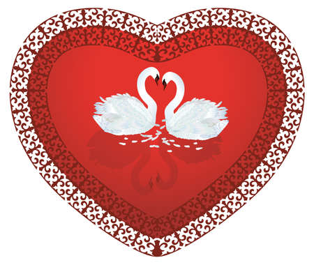 Swan Heart,two swans in shape of heart valentine's day card Stock Vector - 7462557