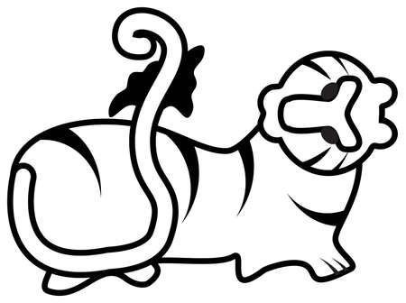 Bengaalse tijger, symbool van het Nieuwjaar 2010 wit
