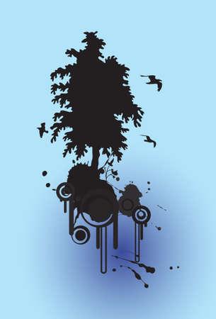 abstracte bloemen boom silhouet achtergrond en vogels vliegen, met plaats voor uw tekst