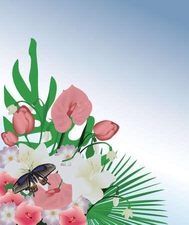 Mooie vlinder en bloemen