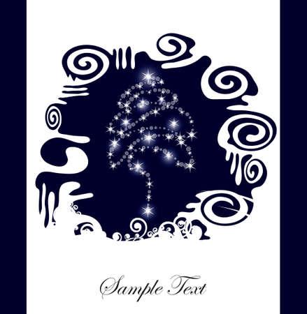 Abstract kerst boom silhouet achtergrond, met plaats voor uw tekst