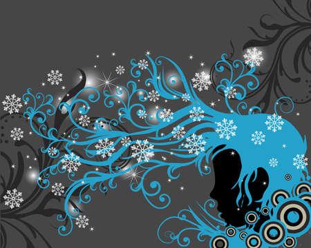 meisje silhouet: Meisje silhouet met bloem ornamenten en swirls coming out van zijn haar Stock Illustratie