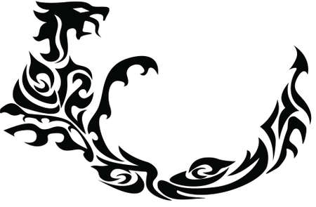 Tattoo art, sketch of a dragon Stock Vector - 9831831