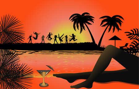Tropical beach sunset Stock Vector - 15082877