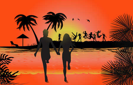 Jumping in sunset at beach, tropical backgrounds Vector