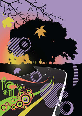 Silhouette of the tree on the road Stock Vector - 15082854