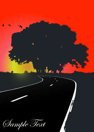 Silhouette of the tree on the road Stock Vector - 15082846