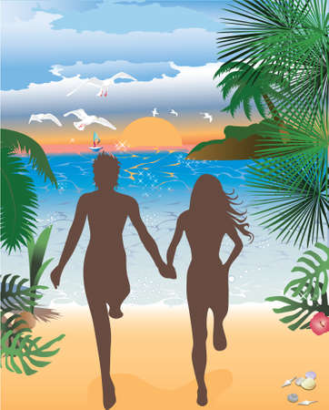couple beach sunset: Jumping in sunset at beach, tropical backgrounds