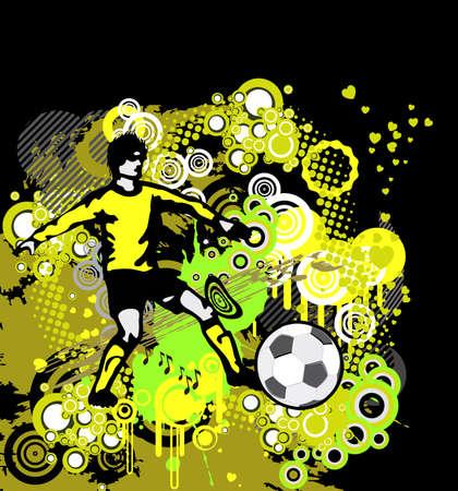 Poster Soccer met Player op grunge achtergrond, element voor ontwerp, vector illustratie