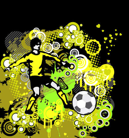 Soccer Poster with Player  on grunge background, element for design, vector illustration