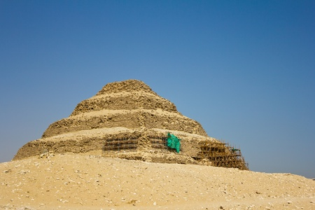 djoser: The oldest standing step pyramid in Egypt, built by Imhotep for King Djoser, located in Saqqara.