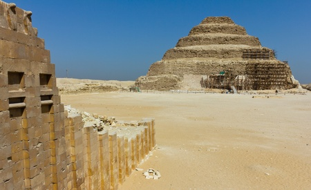 Front picture of the oldest standing step pyramid in Egypt, built by Imhotep for King Djoser, located in Saqqara.