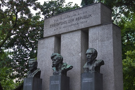 ideological: Memorial to Jakob Reumann, the first social democratic mayor of Vienna from 1919 to 1923, Victor Adler, one of the ideological fathers of the Austrian republic, and foreign minister Ferdinand Hanusch. Editorial