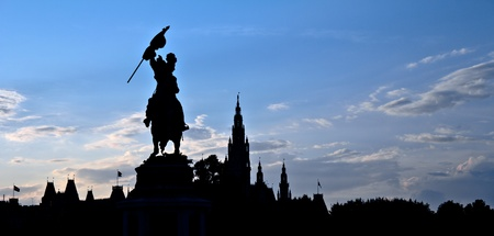 archduke: Silhouette of the statue of Archduke Charles of Austria in the Heldenplatz (Heroes Square), a historical plaza in Vienna. Many important actions took place here, most notably Adolf Hitlers announcement of the Anschluss of Austria to the German Reich. Editorial