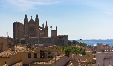 Panoramic of  Mallorca, with the cathedral and the sea in the background. Stock Photo