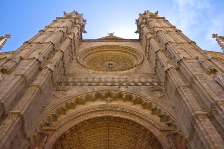 Front facade of the cathedral of Palma de Mallorca.
