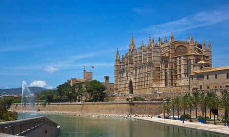 Panoramic of the Cathedral of Palma de Mallorca, Spain.