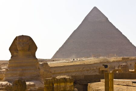 Pyramid of Khafre and the sphinx at Giza, Egypt. photo