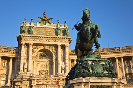 Vienna, Austria, July 22, 2011 - Statue of Prince Eugene of Savoy in front of Hofburg Palace, located in the Heroes Square