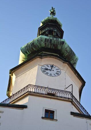 Bratislava, Slovakia, July 20, 2011 - Dome detail of the church situated in the main street of Bratislava, Michalska Brana, at sundown Stock Photo - 11581018