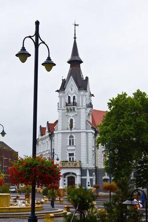 Town Hall in the center of Kaposvar, Hungary. Stock Photo