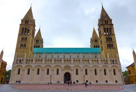 pecs: Basilica of St Peter in Pecs, Hungary. Stock Photo