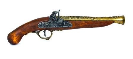 Antique flintlock blunderbuss pistol on white background. Stock Photo