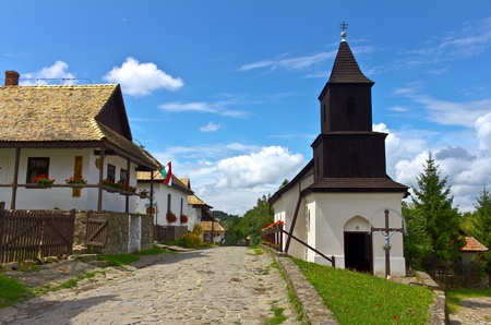 Famous town, Holloko ethnographic village in Hungary, its name means Raven-stonein Hungarian.  Stock Photo
