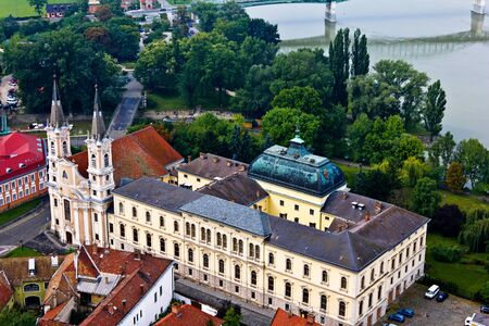 Castle and church in Eztergom, Hungary with the Danube River in the back. Stock Photo