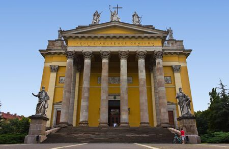 Cathedral of Eger in Hungary, with saints statues.