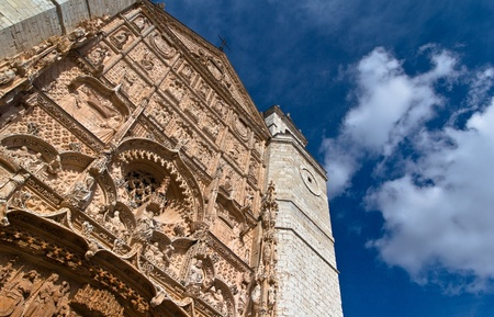 Impressive low angle view of the facade of  Saint Paul church in Valladolid with blue sky, Spain. Stock Photo