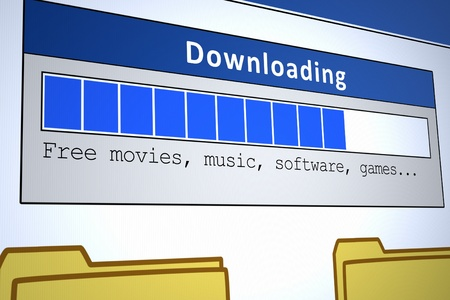 Computer generated image of a downloading window. Concept for internet piracy.