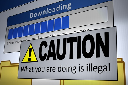 Computer generated image of an illegal download alert. Concept for internet piracy. photo