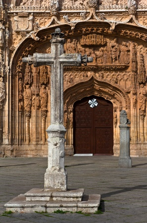Stone Cross at Saint Paul Church entrance in Valladolid, Spain. photo