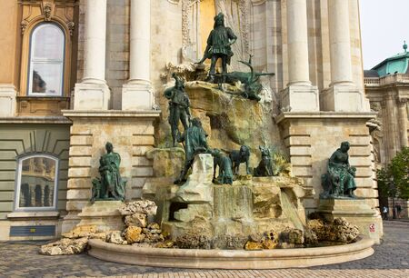Fountain at Royal Palace in Budapest, Hungary.