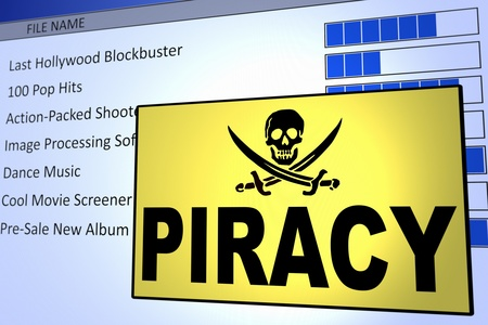 Computer generated image of a piracy alert. Concept for internet piracy. photo