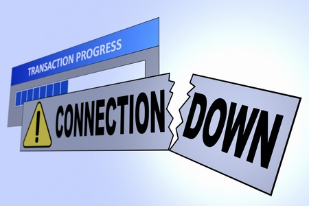 Computer generated image of a connection down alert. Concept for internet connection problems. Stock Photo