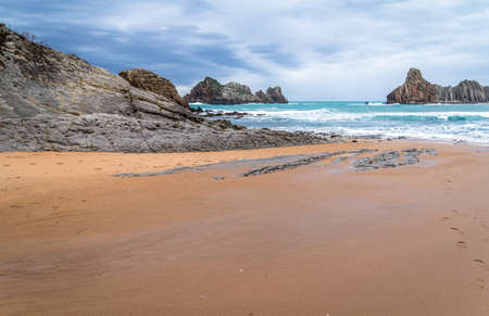 cantabria: Lonely beach in Cantabria full of cliffs. Stock Photo